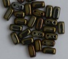 Brick Brown Jet Brown Iris 23980-21415 Czech Mates Beads x 50