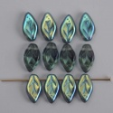 Leaf H 10 mm Blue Montana Blue AB 30330-28701 Czech Glass Bead x 25