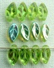 Leaf H 10 12mm Green Olivine AB 50230-28701 Czech Glass Bead Charm x 25