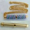 Beadable Pen Small Pendant Gold Plated With Chain