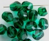 Fire Polished 9 mm Polygon Green  Emerald Faceted Czech Glass Bead x 5