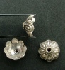 Sterling Silver Bead Cap Flower Heavy Fits 14-16mm Bead x 1pr
