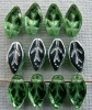Leaf H 10 mm Green Peridot Silver 50500-27000 Czech Glass Bead x 25