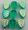 Leaf V 10 mm Green Teal AB 60210-28701 Czech Glass Beads x 25
