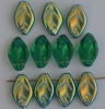 Leaf H 12 mm Green Teal Ab 50720-28701  Czech Glass Bead Charm  x 25
