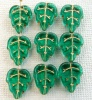 Leaf V 12 mm Green Teal Gold Inlay 6021Gl Czech Glass Beads x 25