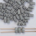 Brick Grey Op Pale Turquoise Moondust 63100 CzechMates Beads x 50