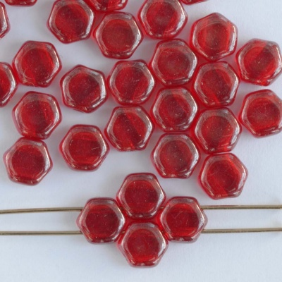 Honeycomb Red Tr Ruby Shimmer 90080-14400 Czech Glass Beads x 30