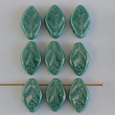 Leaf H 12 mm Blue Turquoise Shimmer 63150-14400 Czech Glass Bead Charm x 25