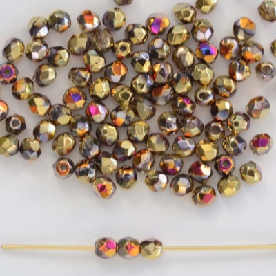Fire Polished Purple 3 4 mm Crystal California Violet 00030-98545 Czech Bead