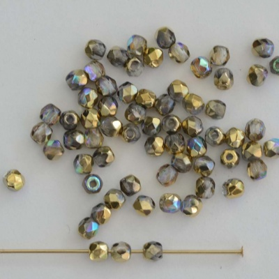 Fire Polished Gold 2 3 4 6 mm Crystal Golden Rainbow 00030-98536 Cze Bead
