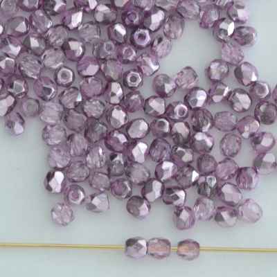 Fire Polished Purple 3 4 mm Met Ice Crystal Lilac 00030-67272 Czech Bead