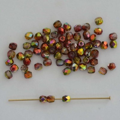 Fire Polished Red 3 4 mm Crystal Magic Apple 00030-95600 Czech Bead