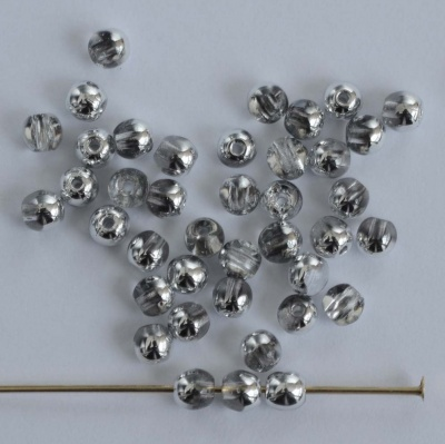 Druk Round Silver 2 3 4 6 8 mm Crystal Labrador 00030-27001 Czech Glass Bead