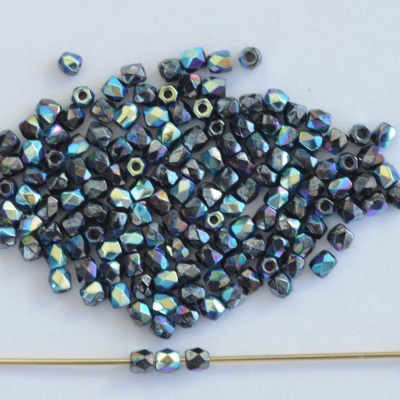 Fire Polished Grey 2mm True Jet Hematite AB 23980-14400-28701 Bead x150