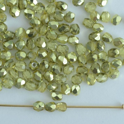 Fire Polished Green 3 4 mm Met Ice Crystal Lime 00030-67813 Czech Bead