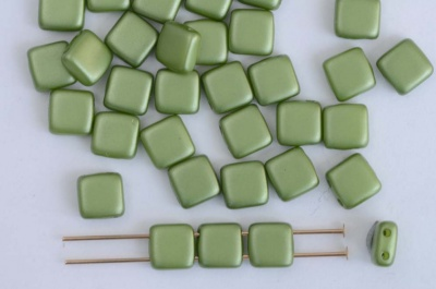 Tile 6mm Green Alabaster Pastel Olive Pearl Coat 2010-25034  Czechmates Bead x25