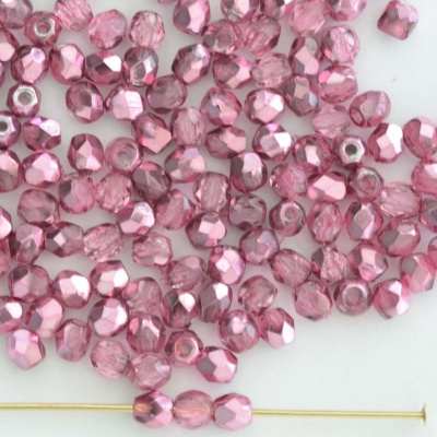 Fire Polished Pink 3 4 mm Met Ice Crystal Pink 00030-67754 Czech Bead