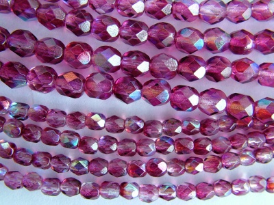 Fire Polished Purple  6 mm Violet AB K4907 Czech Glass Bead