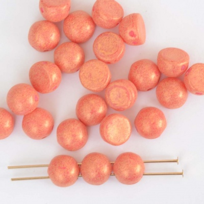 Cabochon Czechmates 7mm Pink Alabaster Strawberry 02010-10020 Beads x 5g