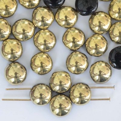 Candy Round Gold 8 mm Jet Amber 23980-26441 Czech Glass Bead x 25