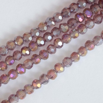 Crystal Faceted Round Pink 3 mm Amethyst AB Chinese  Bead