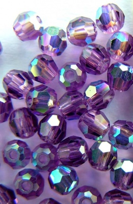 Swarovski Hex Faceted 5000 Purple 3 mm Amethyst AB 204ab Round Beads