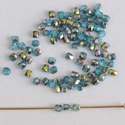 Fire Polished Blue  2 mm  Aqua Vitrail 60020-28101 Czech Glass Bead