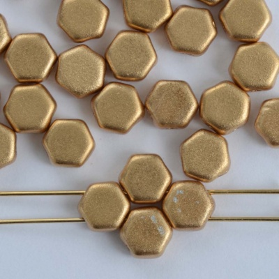 Honeycomb Gold Crystal Matt Met Aztec Gold 00030-01710 Czech Glass Beads x 30