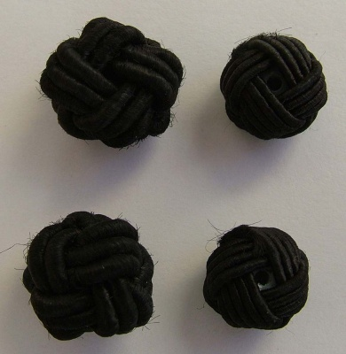 Fabric Chinese Knot Beads Buttons 2 Sizes Black