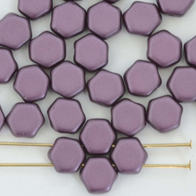 Honeycomb Purple Alabaster Pastel Bordeaux 02010-25032 Czech Bead x 30