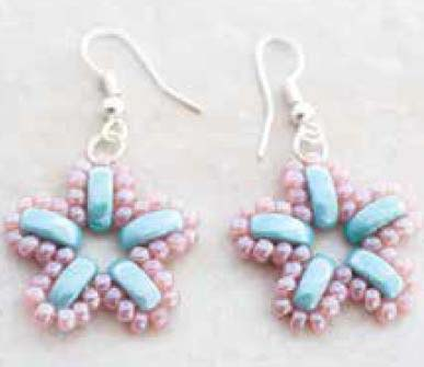 Pattern John Bead Spring Garden Earrings uses Cali FOC with bead purchase