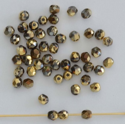 Fire Polished Brown 3 4 mm Crystal California Night 00030-98543 Czech Bead