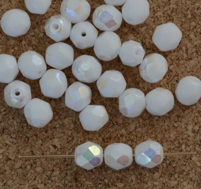Fire Polished White 6  8 mm Chalk White AB 03000-28701 Czech Bead