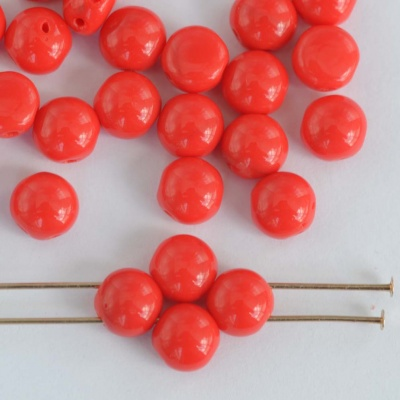 Candy Round Red 6 mm  Coral Red 93400 Czech Glass Bead x 25