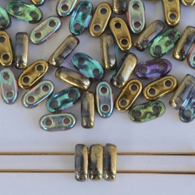 Shim 2 Hole Gold Crystal Golden Rainbow 00030-98536 Czech Glass Bead x 5g
