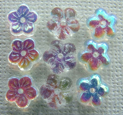 Flower Ch Flat 8mm Clear Crystal AB  00030-28701 Czech Glass Bead x 50