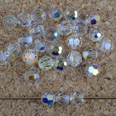 Swarovski Hex Faceted 5000 Clear 2 3 4 6 8 mm Crystal AB 001AB  Round Beads