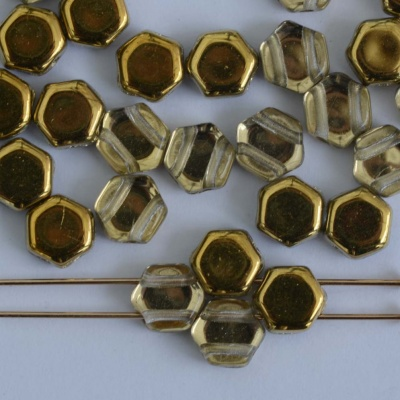Honeycomb Gold Crystal Amber  00030-26441 Czech Glass Beads x 30