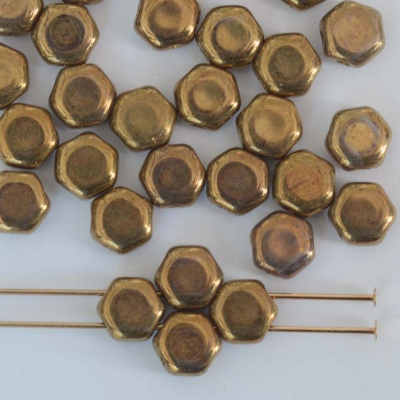 Honeycomb Brown Crystal Bronze Blue 00030-90215 Czech Glass Beads x 30