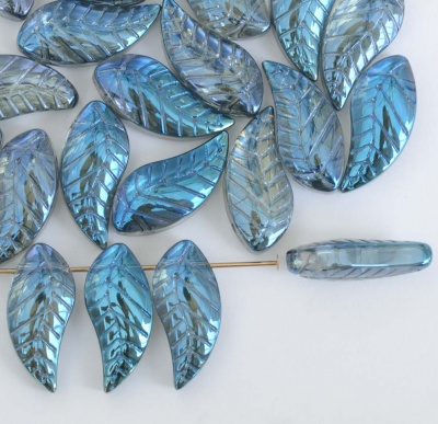Chinese Leaf H Blue Crystal Metallic Blue 19x8mm Glass Bead x 10
