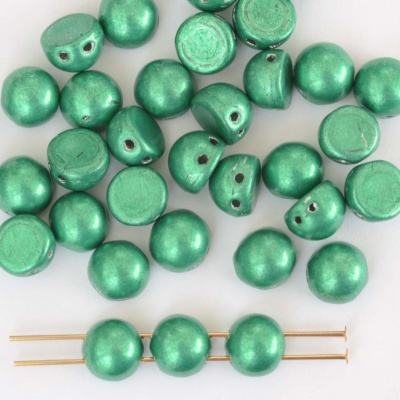 Cabochon Czechmates 7mm Green Crystal Sat Met Lush Meadow Beads 00030-77051 x 5g