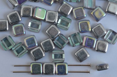Square 2 Hole 6mm Silver Crystal Silver Rainbow 00030-98530 Czech Tile Bead x 25
