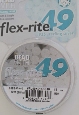 Flexrite Flex-Rite Wire 49 Strand Sterling Silver 10Ft  .018'' .45mm .024'' .60mm