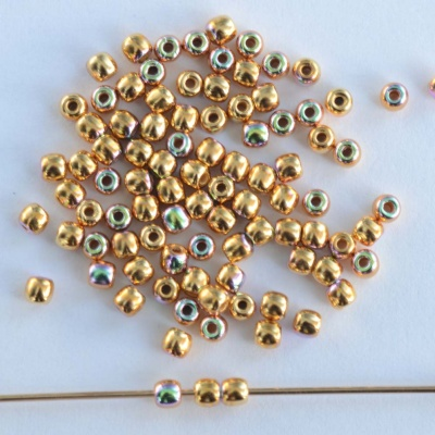Druk Round Gold 2 mm 24ct Gold Plated AB 00030-35000ab Czech Glass Beads