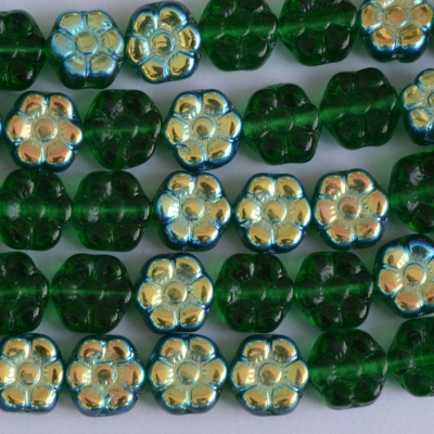 Flower Hd Green 8 mm Tr Green AB 50140-28701 Czech Glass Bead x 25