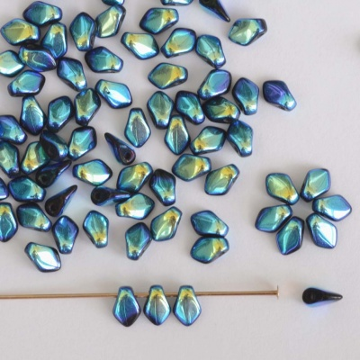 Gekko Blue Jet AB ''Full'' 23980-28703 Czech Glass Bead x 5g