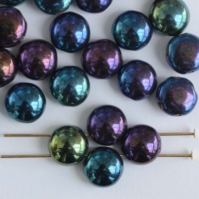 Candy Blue Jet Blue Iris 23980-21435 Czech Glass Bead x 25