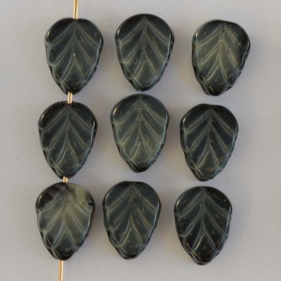 Leaf V 10 mm Grey Jet Marbled Grey 23980-17019 Czech Glass Beads x 25