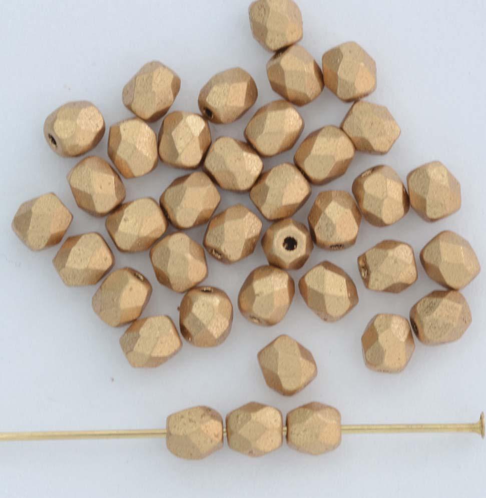 Brick Gold Crystal Mat Met Aztec Gold 00030-01710 Czech Mates Beads x 50